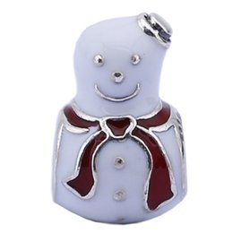 Wholesale Glass Beads Snowman - 925 Sterling Silver Beads Merry Christmas Charms Snowman Design Beads Silver Making Fit Snake Chain Bracelet PD0046-1G