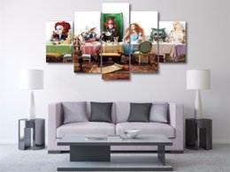 Wholesale Alice Wonderland Decorations - 5 Panels Alice in wonderland Modern Abstract Canvas Oil Painting Print Wall Art Decor for Living Room Home Decoration Framed Unframed