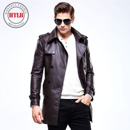 Wholesale Jaqueta Couro Masculino - Wholesale- Brand Motorcycle Leather Jackets Trench Men Long Faux Leather Fashion Casual Leather Jacket Coat Jaqueta De Couro Masculino