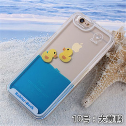 Wholesale Duck Iphone Cover - galaxy s6 s6 edge case Flowing Liquid Swimming Yellow Duck Clear Cover Coque for iPhone 6 6 Plus 5S 5 Water Transparent Case
