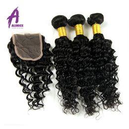 Wholesale Long Curly Human Hair Weave - 7A Brazilian Deep Wave With Closure Human Hair Weave 3 Bundles With Closure Tissage Cheveux Lace Closure With Bundles