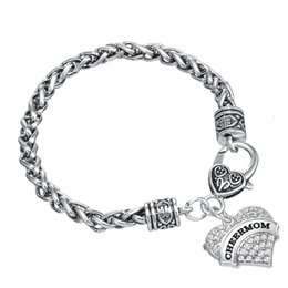 Wholesale Tin Metal Letters - Trendy 50pcs a lot zinc alloy girl metal bracelet with letter CHEERMOM jewelry accessory wholesale bangle