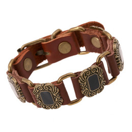 Wholesale Tattoo Belt Buckles - Wholesale-Unisex Bracelets Antique Bronze Alloy Genuine Leather Patchwork Belt Cuff Bracelet Tattoo Studded Buckle Bracelet For Women Men
