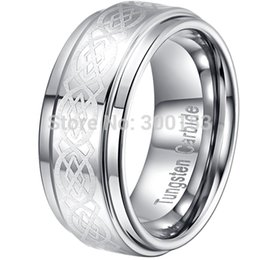 Wholesale Tungsten Carbide Ring Free Shipping - Wholesale-NEW Pure Silver Polished Tungsten Carbide Wedding Band Ring Xmas Gift Mens 9MM Size 8-14 FREE SHIP