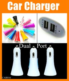 smallest mobile camera Promo Codes - Colorful Dual USB Car Charger Trumpet Portable MINI small Mobile phone Chargers Universal Adapter for iphone 6 5 4 camera htc huawei CAB016
