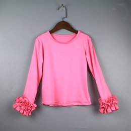 Wholesale Hot Pink Shirts For Sale - 2017 hot sale girls ruffle sleeve top hot pink icing t-shirt for girls Christmas dress ruffles solid fancy shirts