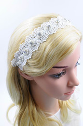 Wholesale Wholesale Leather Lace For Jewelry - New Women Lace Floral Hairband with Rhinestone Pearl Wedding Hair Accessories Fashion High Quality Hair Jewelry for Wholesale