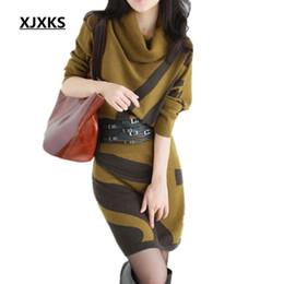 Wholesale Chiffon Turtleneck Dress - Wholesale- XJXKS 2017 Autumn Winter New Women Dresses Long Sleeve Knit Sweater Dress Turtleneck Slim Lady Accept waist Package hip dresses