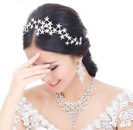 Wholesale Vintage Flower Headband Wedding - 2015 Vintage Wedding Bridal Prom Women Silver Crystal Rhinestone Stars Headband Crowns Hair Accessories Tiara Necklace Earrings Jewelry Set