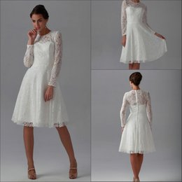 Wholesale Detachable Sleeves For Wedding - 2015 high quality with Detachable 2015 New Best Elegant A Line Knee length Long Sleeve Lace High Neck Wedding Dresses for Party Dresses