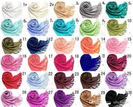 Wholesale Wholesale Cashmere Wraps - Pashmina Cashmere Solid Shawl Wrap Women's Girls Ladies Scarf Soft Fringes Solid Scarf Size:180*70cm DHL Free Shipping