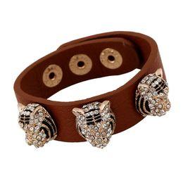 Wholesale Mosaic Plates - Punk leather bracelets Fashion Refinement Mosaic Rhinestone Alloy Leopard head Decorative Snap button design Charm bracelets Wrist Jewelry