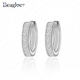 Wholesale Earring Jade - Wholesale- Beagloer Brand Luxury Hoop Earrings Silver Color Cubic Zirconia Inlayed Round Women Earrings Jewelry CER0032-B