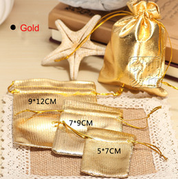 Wholesale Satin Jewelry Packaging Wholesale - Gold Plated Gauze Satin Jewelry Packing Drawable Organza Bags Christmas Wedding Gift Bags & Pouches,packaging bags Free shipping