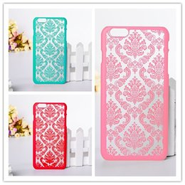 Wholesale Hollow Iphone Cases - New Vintage Court Flower Matte Hard Plastic PCl Hollow Out Translucent Skin Back Cover Phone Case Iphone 6s plus Iphone 6 4.7