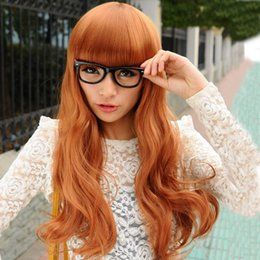 Wholesale Long Curly Japan Wig - Yiwu yellow brown wig factory made wholesale Department of foreign trade of Japan and South Korea women's long curly hair wig