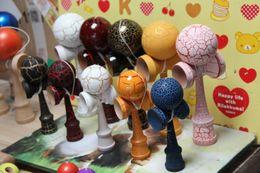 Wholesale Wood Toy Swords - 2016 Hot selling Japanese traditional wooden toys kendama skills ball crack jade sword ball 18cm kendama