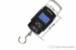 Wholesale Testing Hook - Portable Mini Electronic scale 50 kg 10 kg fishing hook luggage pocket digital weight postal scales black color for wholesale