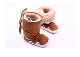 Wholesale Infant Unisex Fleece - 2015 Winter Baby Girls Boys Shoes Boots Moccasins Soft Crib Infant Warm Fleece First Walkers Newborn Toddler Shoes