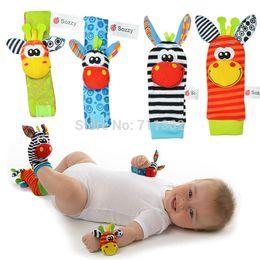 Wholesale Baby Feet Month - (4pcs=2 pcs waist+2 pcs socks )baby rattle toys Garden Bug Wrist Rattle and Foot Socks