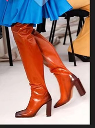 Wholesale Runway Boots - women Thigh-high boots Sexy over the knee high Brown White Square Toe Female Martin Boots Zippers Runway Thick Heels Women Motorcycle Botas