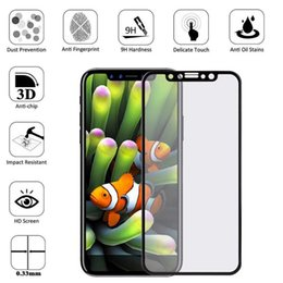 Wholesale Body 3d - For iPhone X iPhone 8 Plus 3D 5D Curved Full Covrage full body Cover Tempered Glass Screen Protector Film with Retail Box