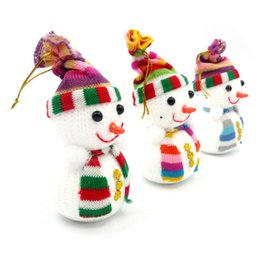 Wholesale Christmas Decorations Small Hanging - 15*7cm Christmas snowman toy doll Small Snowman With Colorful For Chrismas Decoration Cute Christmas Tree Hang Decorations middle size CS015