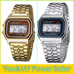 Wholesale Led Battery Glasses - Wholesale F-91W Metal Watch Electronic Watches LED Watch Ultra-Thin Wrist Watch Gold Silver Wristband Led Sports Watches Free Ship