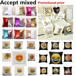 Wholesale Wholesale Home Pillows - Emoji Sequins Pillow Case Poop Pillowcase Double Colors Faces Expression Mermaid Pillow Covers Home Sofa Car Decor Cushion Gift 40*40cm SF42