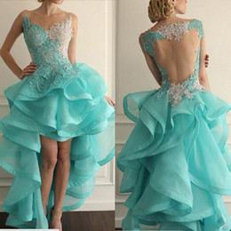 Wholesale Chiffon High Low Prom Dress - New 2015 Blue Prom Dresses Illusion Crew Neckline Organza Lace Appliques Ruffle Beads Sheer Back High Front and Low Back Evening Dresses