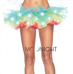 Wholesale Led Costumes For Women - w1022 Free Shipping Charming LED Lights Tutu Fashion Colorful Skirt Costume dance skirt for women