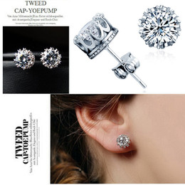 Wholesale Cross Earrings For Women - Luxury Crystal Multi Prongs Shiny CZ Crown Earring Stone Sliver Gold Color Round Stud Earring For Women Fashion Jewelry