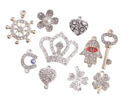 Wholesale Flatback Charms - New arrive 10PCS Fashion Mixed Lots of metal Clear Rhinestone Flatback Link Charms #91848 for sale