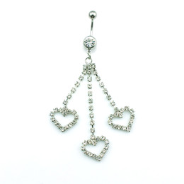 Wholesale Diy Belly Button Ring - Promotion! DIY New Arrival Wholesale Price High Quality Fashion 3 Crystal Heart Belly Button Rings for Women Jewelry