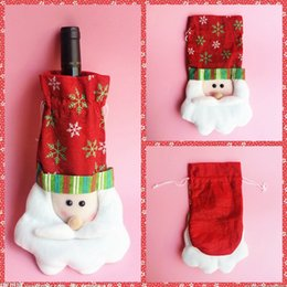 Wholesale Cheap Polyester Table Covers - Top Santa Wine Bottle Covers Bag Merry Christmas Festive Party Table Decoration Festival Wine Bottle Cover Bags Gift Wrap Party Decor Cheap