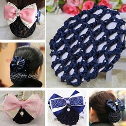 Wholesale Wholesale Bun Holder - Girl women Bun Cover Snood Hair Net Ballet nurses Flight attendant Dance Skating Handmade Crochet Hair Net Pony Tails Holder