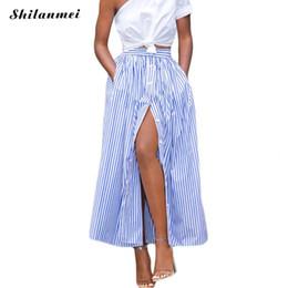 2019 motifs de jupe évasée Vente en gros- 2017 mode coréenne femme Casual longue jupe africaine 2017 été vertical rayé simple boutonnage longue cheville longueur jupe saia