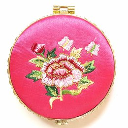 Wholesale Mirror Compact Silk - Satin cosmetic mirror, with Handmade Embroidery silk Compact mirror, mixed shape, mixed color, sold by lot (10pcs lot)