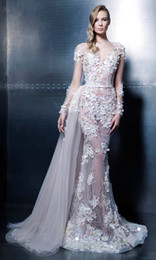 Wholesale hand print pictures - Ziad Nakad Long Sleeve Evening Dresses 2016 Trumpet Mermaid Floor Length Pageant Gowns Sexy Sheer Prom Dresses With Flores