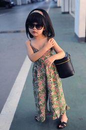 Wholesale wide leg pants jumpsuits - Baby clothes Girl's Floral Jumpsuit Suspender Trousers Pant Wide Leg Pants Beach Jumpsuits Kids Summer Outfit 5p l