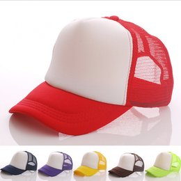 Wholesale Wholesale Personalized Baseball Hats - Wholesale-Hot Polyester Men Women Blank Mesh Trucker Baseball Cap Two Tones Snapback Hat One Piece Custom Personalized Logo Free Shipping