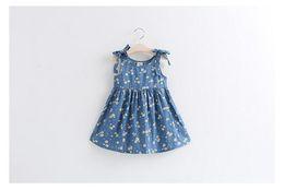 Wholesale Wholesale Floral Jeans Print - 2016,Summer style girl dresses, cotton jeans, sleeveless strap dress child, floral dress, little fresh, cute, princess dress