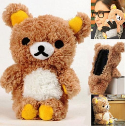 Wholesale Transparent Teddies - 3D Cute Cartoon Toy Teddy Bear Doll Plush Warm Phone Case Cover Skin For Winter For iphone 5 6 6s plus