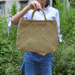 Wholesale Seaweed Made - basket shopping straw shoulder handbag rattan bag handle seaweed series shopping bag Japan Style Straw-made Box Desktop Receive Basket
