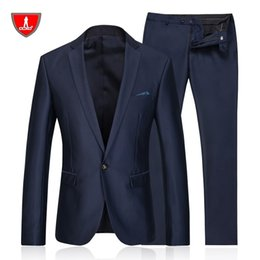 Wholesale Viscose Polyester Suit - Wholesale-2016 new arrival Famous brand CCXO High quality Polyester and viscose Business casual men's blue color suits,plus size S TO 3XL