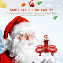 Wholesale Scale 16 - Fly Santa Claus Quadcopter Helicopter Christmas Toy Remote Control Aircraft With LED Light Christmas Music For Kids Gift 60pcs OOA3487