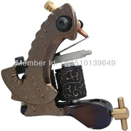 Wholesale Damascus Steel Tattoo Guns - Wholesale-HOT! New Hot Selling Custom Available 10 Wrap Coils Damascus Tattoo Machine Gun Noiseless Steel Machine