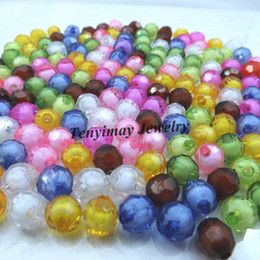 Wholesale Plastic Faceted Round Beads - 10mm Bead In Bead Fashion Faceted Acrylic Beads DIY Accessory Free Shipping Wholesale 1000pcs