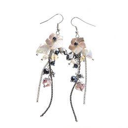 Wholesale Pearl Dangle Earring Shell - Natural Shell Drop Earrings Long Tassel Hanging Earrings for Woman Fashion Handmade Crystal Bead Baroque Pearl Dangle Chandelier Earring