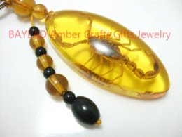 Wholesale Amber Insect Ring - Real Golden Scorpion in Amber Resin Keychain 56*24.5*12mm key ring promotion gift,Auto Ornament,Real Insect souvenir novelties